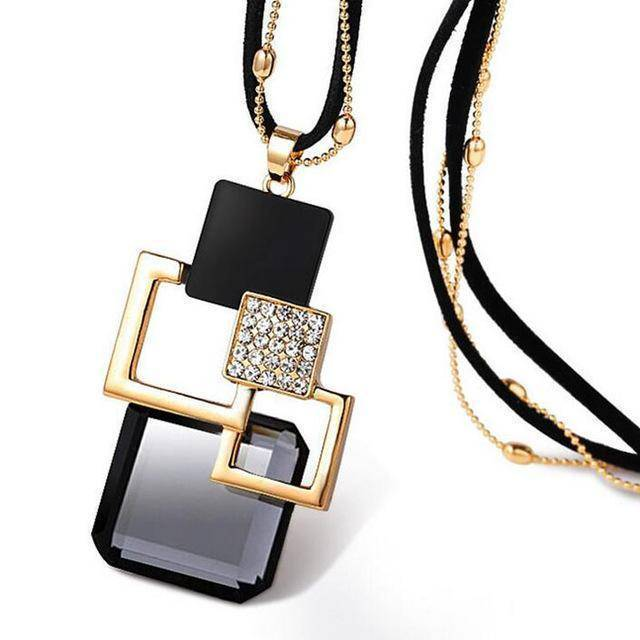 necklace ZL28 26 Designs, Geometric Crystal long Pendant Necklaces