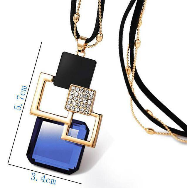 necklace ZL29 26 Designs, Geometric Crystal long Pendant Necklaces