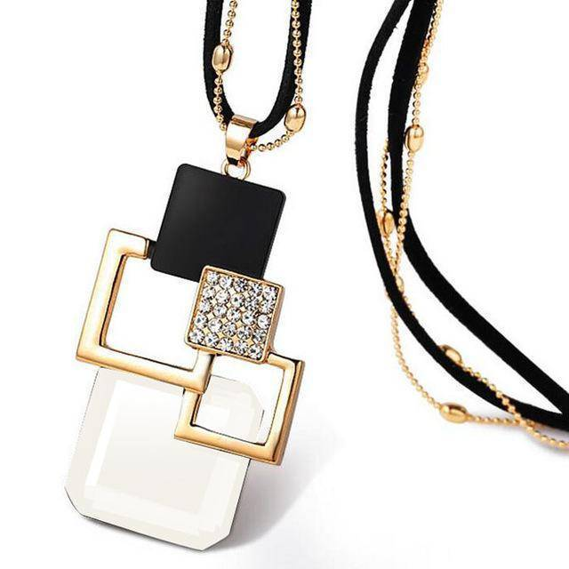 necklace ZL29B 26 Designs, Geometric Crystal long Pendant Necklaces