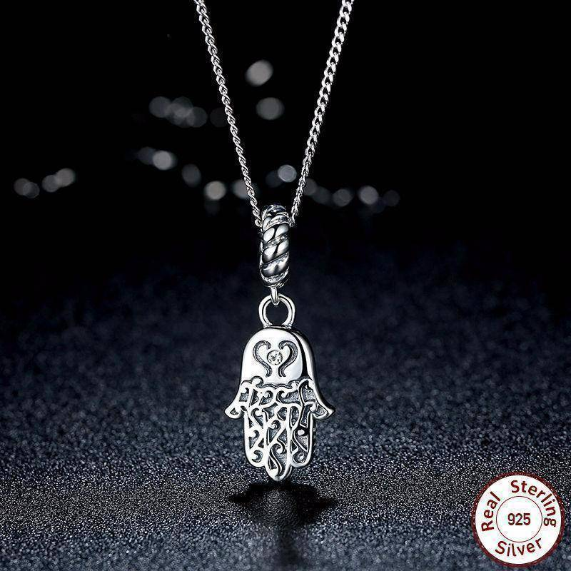 Necklaces 925 Sterling Silver Lucky Hamsa Pendant Necklace Women Fine Jewelry