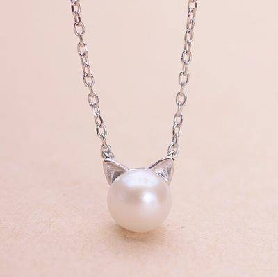 Necklaces 925 Sterling Silver overlay, Imitation Pearl Cat Necklace