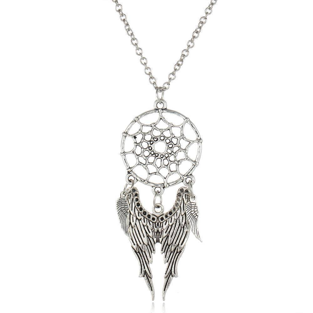 necklaces Antique Silver Vintage Dream Catcher Leaves Pendant Necklace