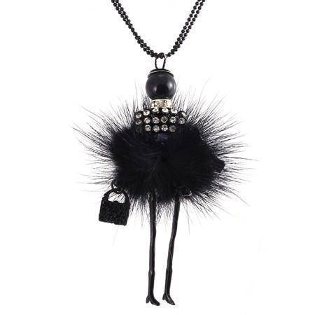 Necklaces Black Handmade Doll Long Chain Pendant Rhinestone Necklaces