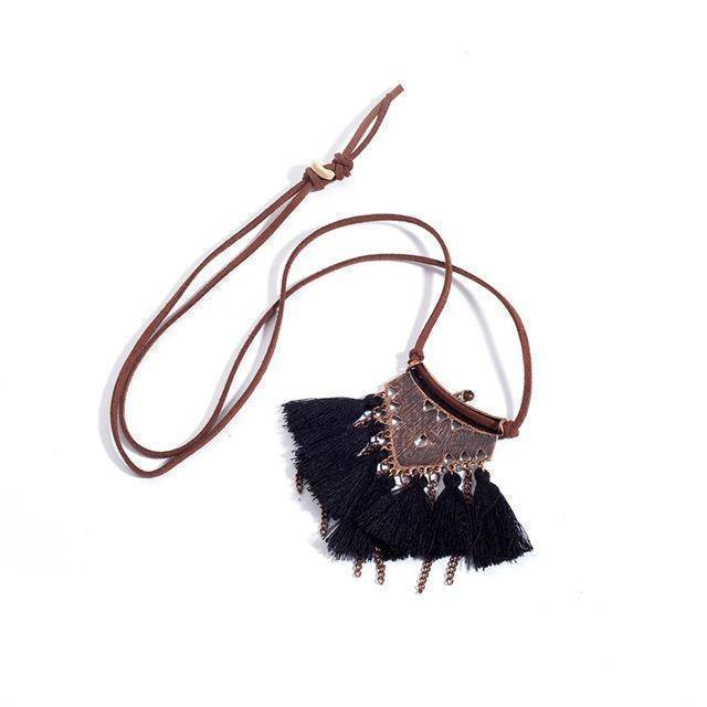 necklaces Black Sweater chain Leather Chain Necklaces