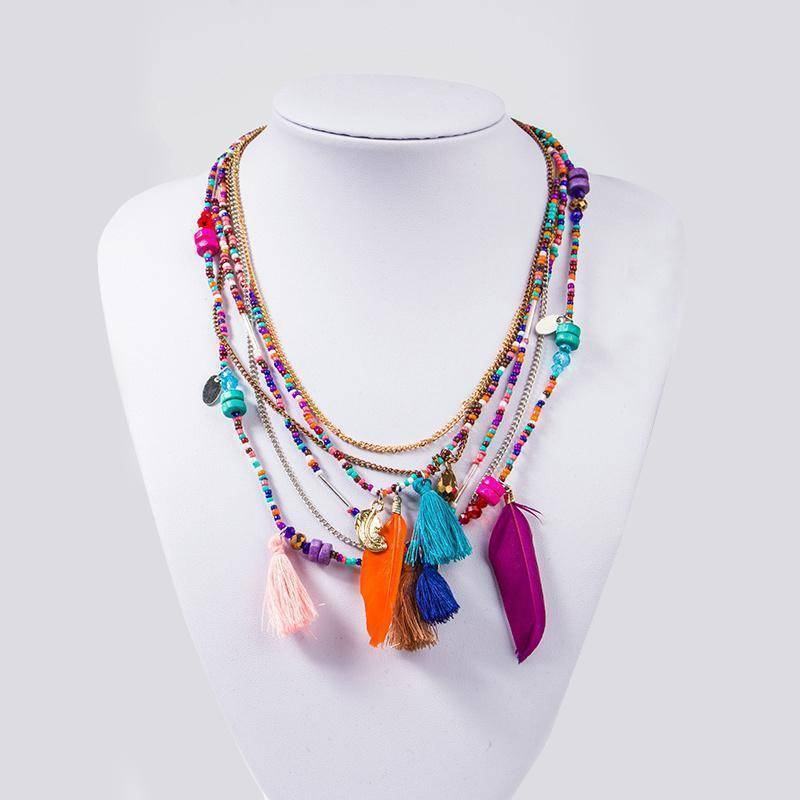 necklaces Bohemian  Necklaces Handmade Multilayered Beads Long Feather Tassel