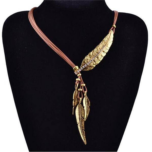 necklaces Brown Feather Necklaces Rope Leather Vintage Statement Necklace