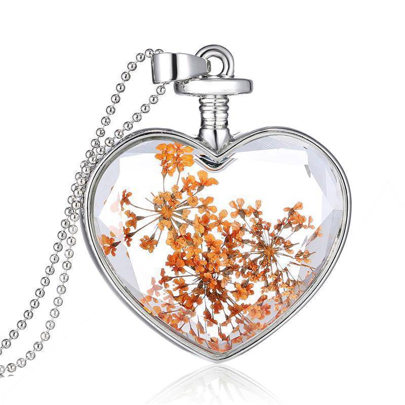 necklaces Dried Flowers Vintage Long Chain Crystal Heart Pendant Necklace