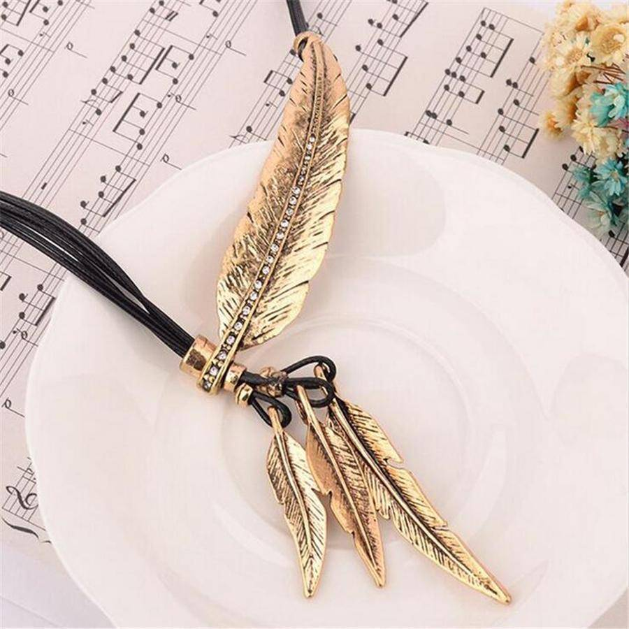 necklaces Feather Necklaces Rope Leather Vintage Statement Necklace