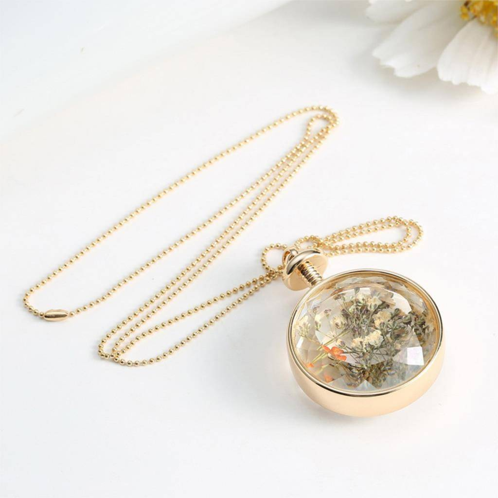 Necklaces Fresh Pressed dried real Flowers, simple Vintage Long Chain Crystal Round Pendant Necklace jewelry