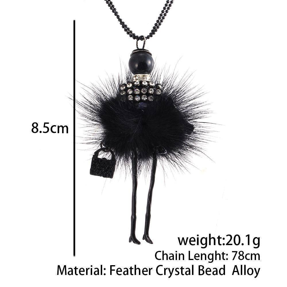Necklaces Handmade Doll Long Chain Pendant Rhinestone Necklaces