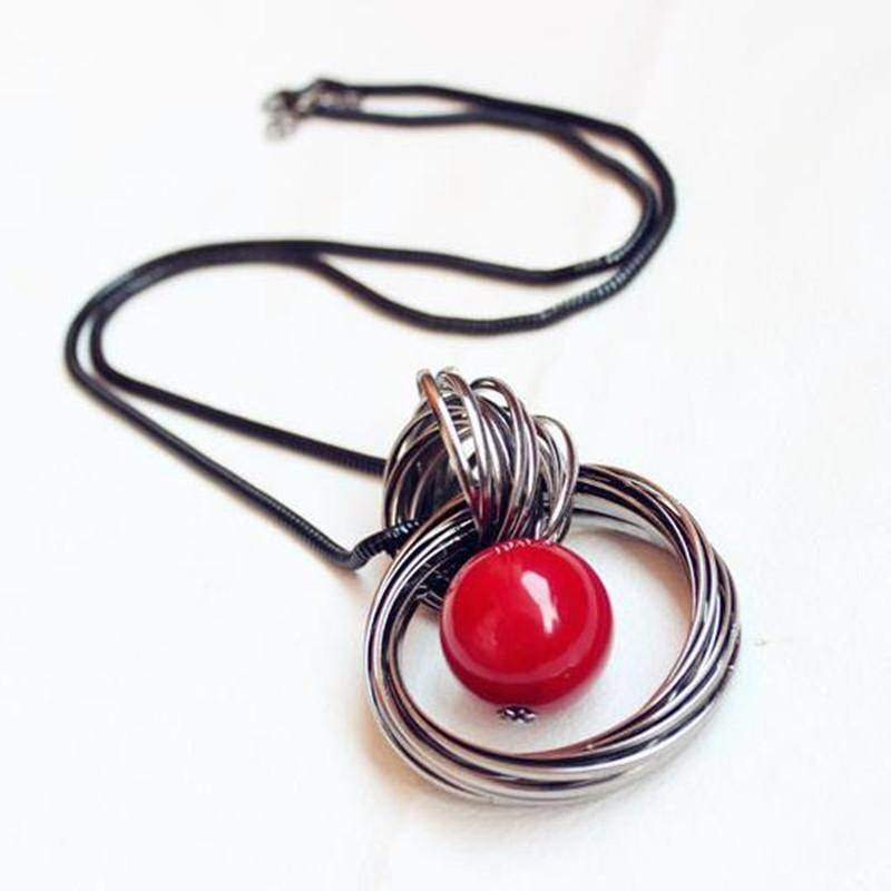 necklaces Long Pendant Necklace, Red Beads Circle Sweater Chain