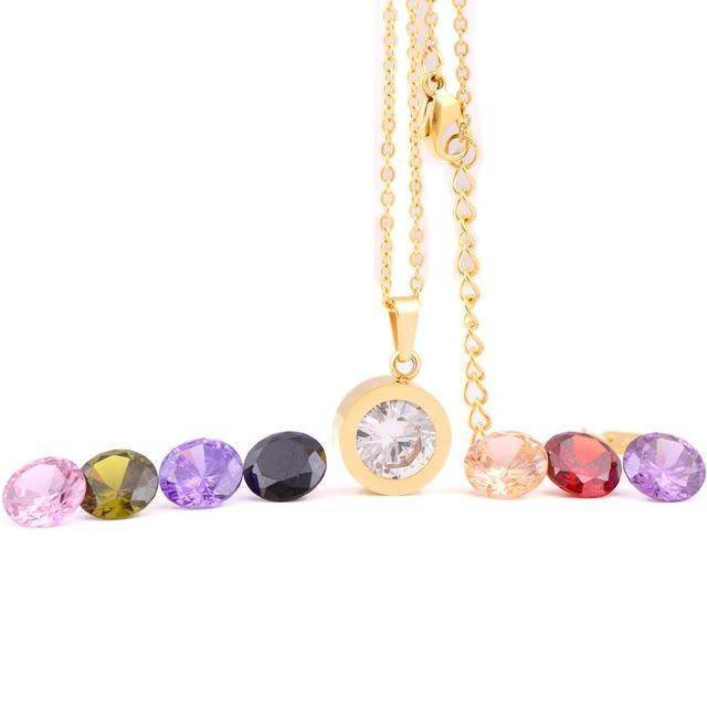 Pendant Gold Interchangeable 8 stone necklace 316L Stainless Steel DIY Crystal Charm Pendants Necklaces