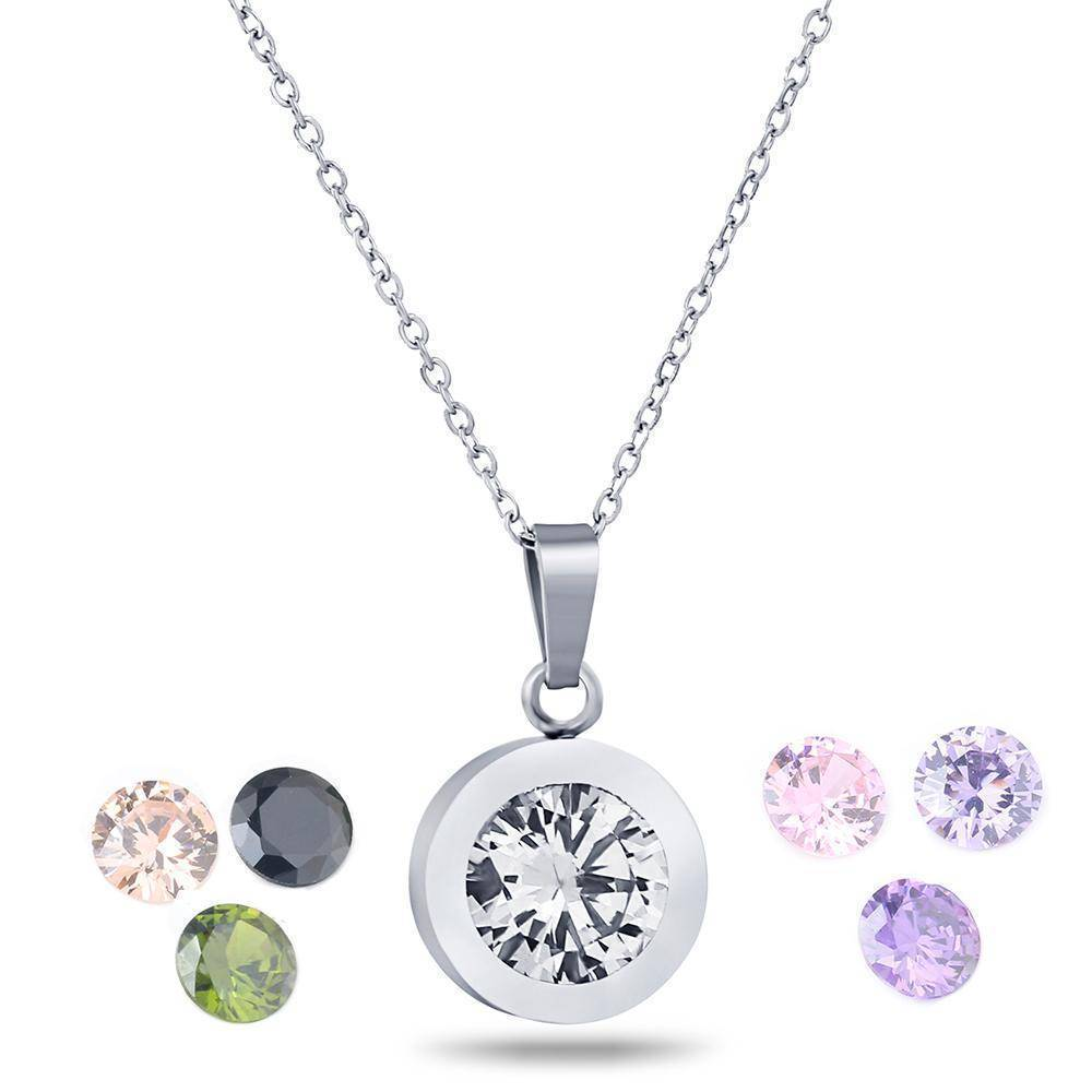 Pendant Necklaces Luxury Interchangeable 8 crystal stone necklace, 10mm Pendant, Stainless Steel
