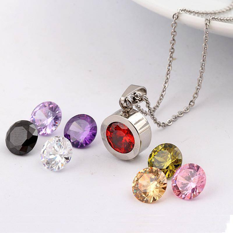 Pendant Silver Interchangeable 8 stone necklace 316L Stainless Steel DIY Crystal Charm Pendants Necklaces
