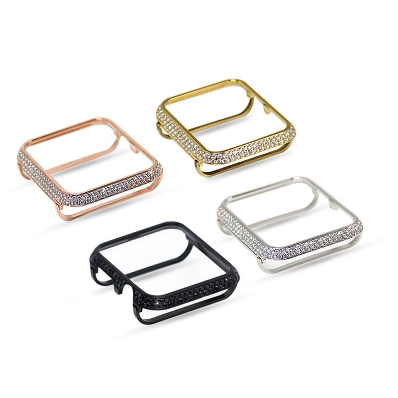 Phone Bumpers 18kt bling platinum crystal rhinestone diamond jewelry case bezel cover for Apple Watch 38mm 42mm series 4 3 2 1