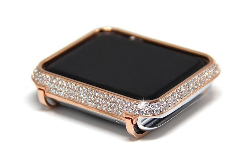 Phone Bumpers Apple Watch case bezel cover, 18kt gold bling lab diamond look crystal rhinestone jewelry,  38mm, 42mm Series 4 3 2 1