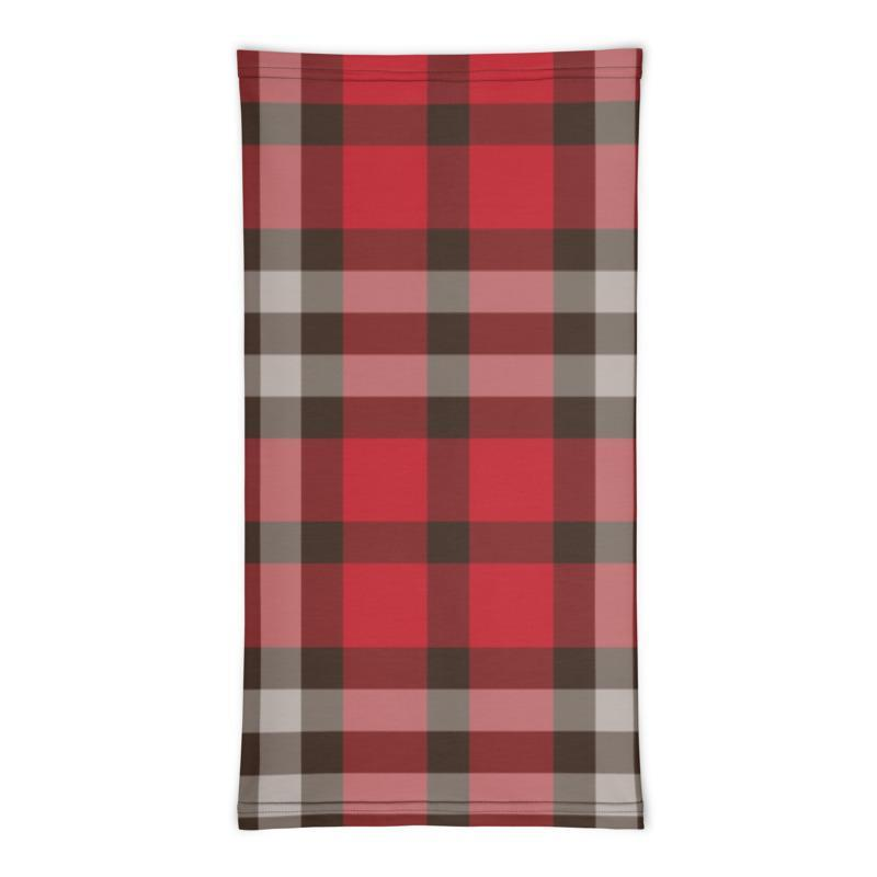 Red brown plaid gray checkered - neck gaiter 12 in 1 face cover head wear headband wrap balaclava mask head wear beanie - US Fast Shipping