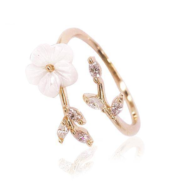 Rings 5.25 Open Ring rose gold women Delicate Zircon Crystal Leaf Shell Flower