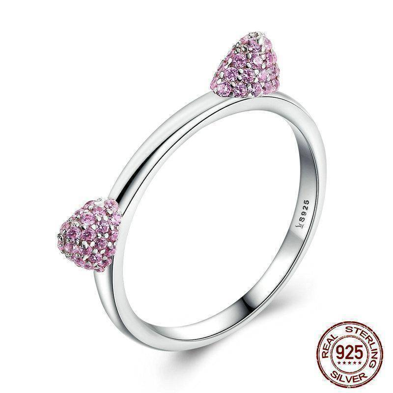 Rings 6 925 Sterling Silver Cute Cat Ears Pink CZ Ring