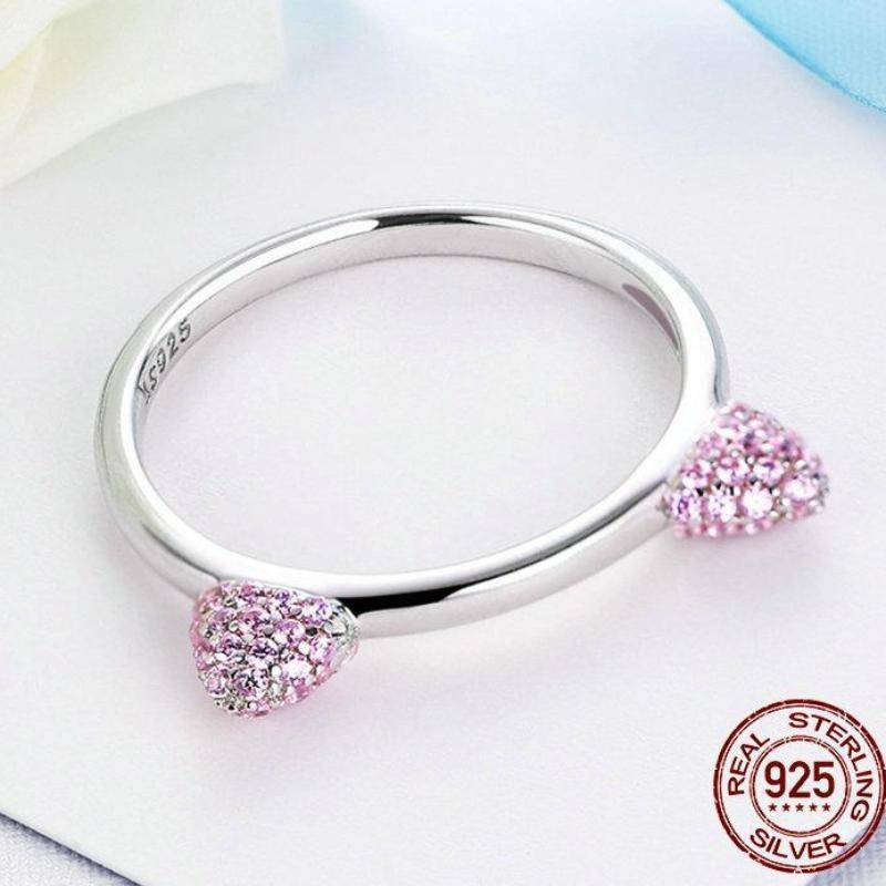 Rings 925 Sterling Silver Cute Cat Ears Pink CZ Ring