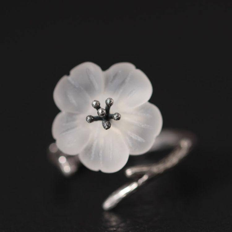Rings 925 Sterling Silver White Crystal Astilboides Tabularis Flowers Open Rings For Women Vintage Style Lady Sterling-silver-jewelry