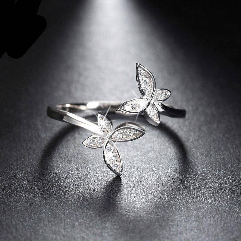 Rings Butterfly Adjustable Rings - Austrian Cubic Zirconia, Silver
