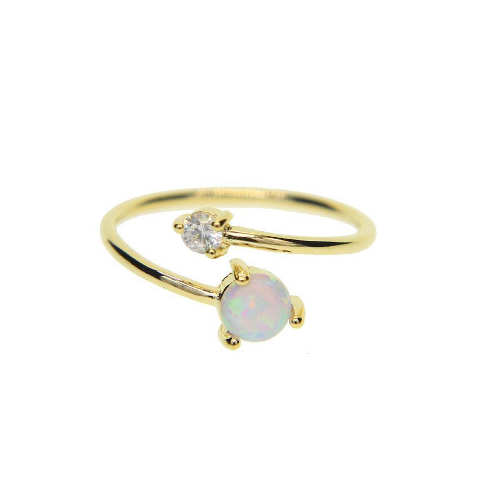 Rings Gold High quality AAA+ CUBIC ZIRCONIA white fire opal stone Adjustable delicate ring