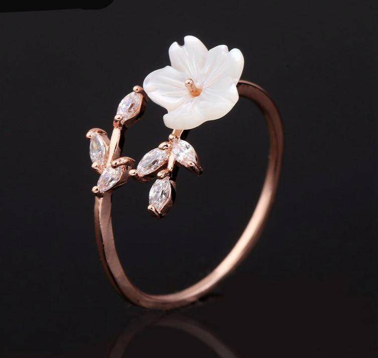 Rings Open Ring rose gold women Delicate Zircon Crystal Leaf Shell Flower