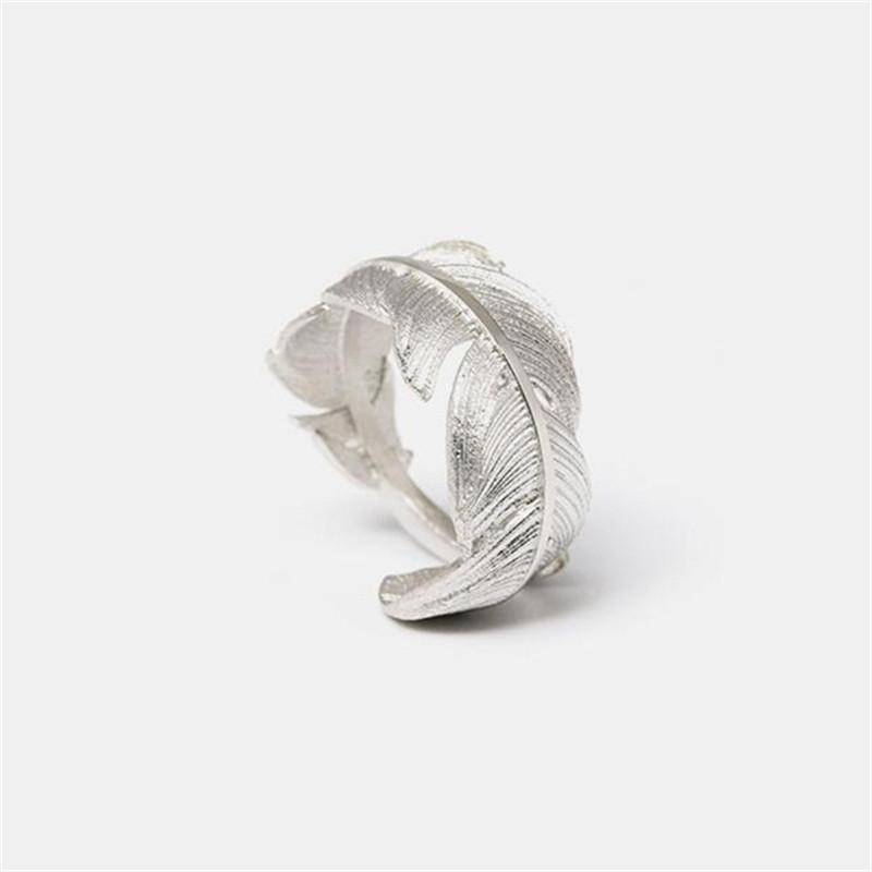 Rings Original Handmade 925 Sterling Silver Feather Open Rings