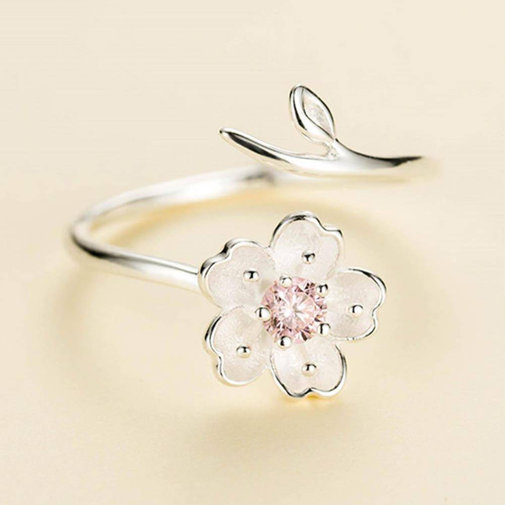 Rings Pink Silver Color Poetic Daisy Cherry Blossom Finger Ring