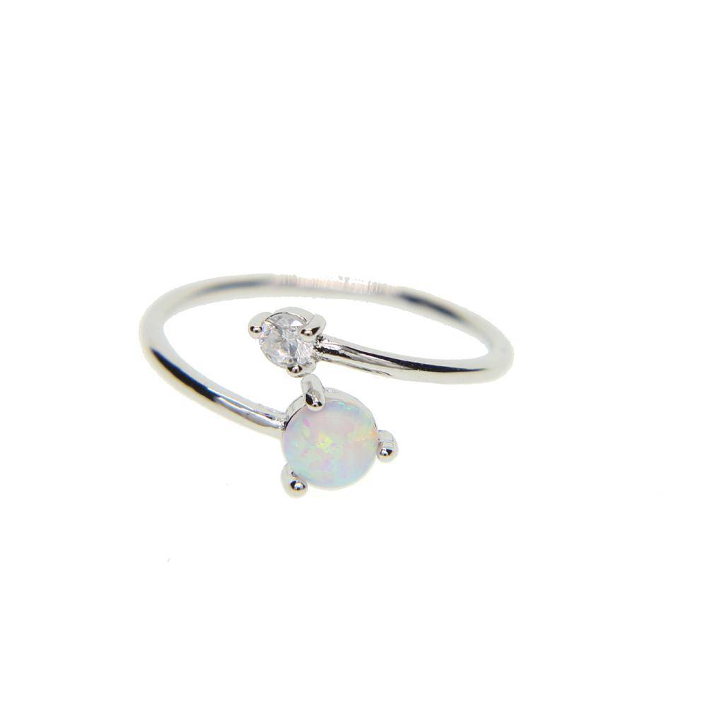 Rings Silver High quality AAA+ CUBIC ZIRCONIA white fire opal stone Adjustable delicate ring