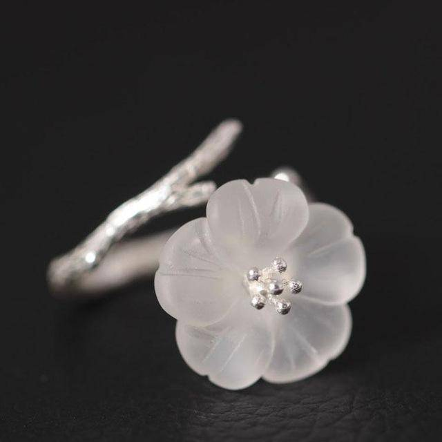 Rings White 925 Sterling Silver White Crystal Astilboides Tabularis Flowers Open Rings For Women Vintage Style Lady Sterling-silver-jewelry