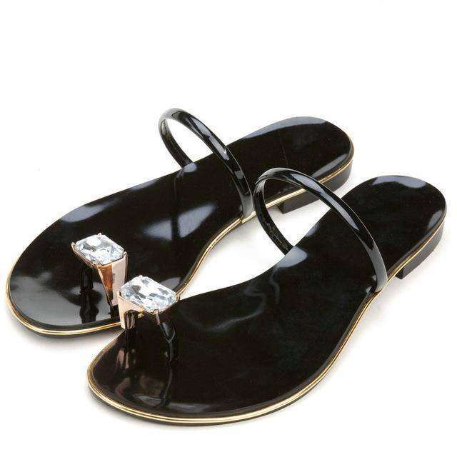 shoes black / 3 Genuine cow leather Diamond flip flops