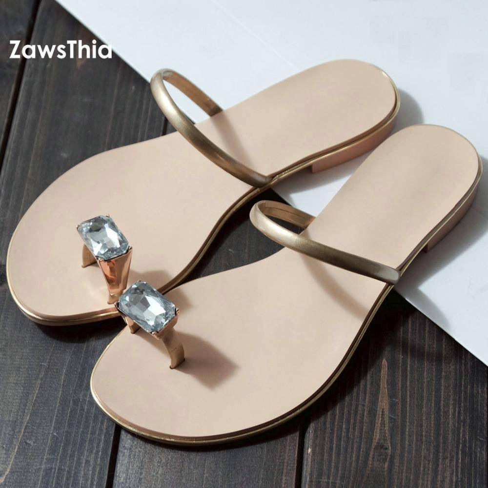shoes Genuine cow leather Diamond flip flops