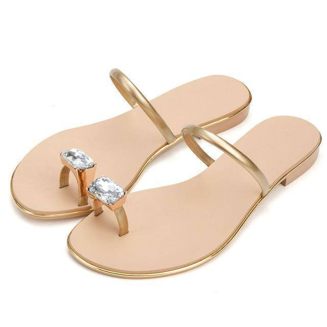 shoes gold / 3 Genuine cow leather Diamond flip flops