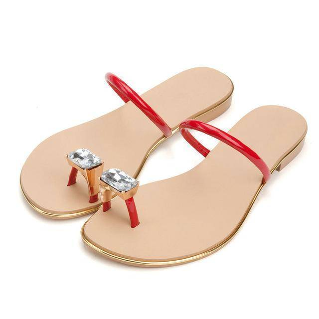 shoes red / 3 Genuine cow leather Diamond flip flops