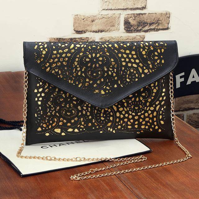 Shoulder Bags black Vintage Hollow Out Envelope, Cross body bag, ipad sleeve