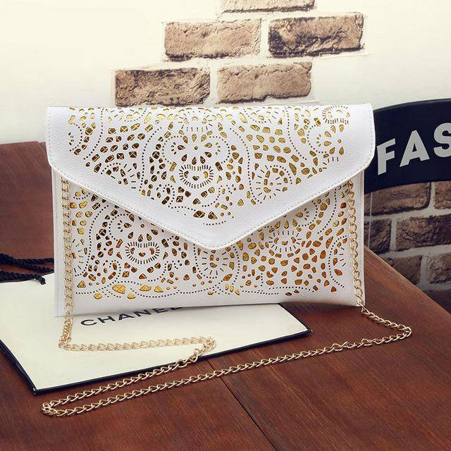 Shoulder Bags White Vintage Hollow Out Envelope, Cross body bag, ipad sleeve