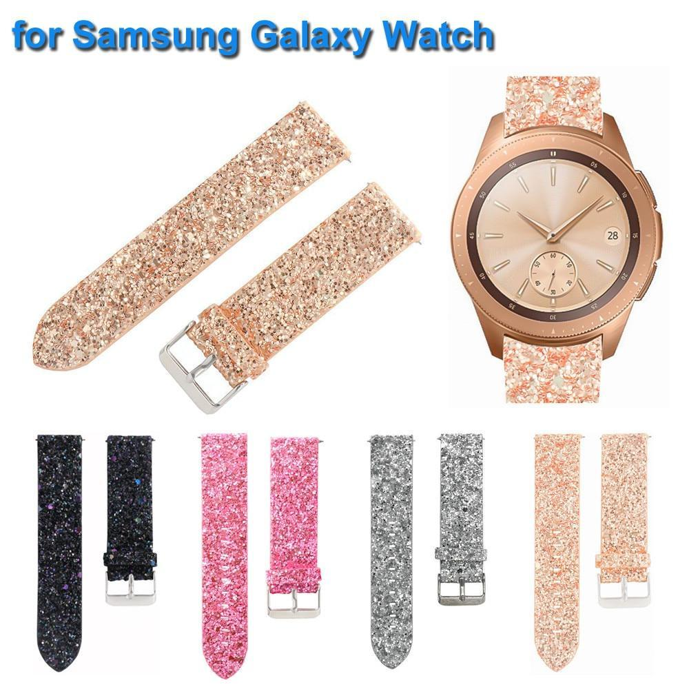 Smart Accessories Bling Shiny Luxury Leather Replacement Watch Band Replacement Bracelet Watch Band Strap for Samsung Galaxy Watch 42/46 mm