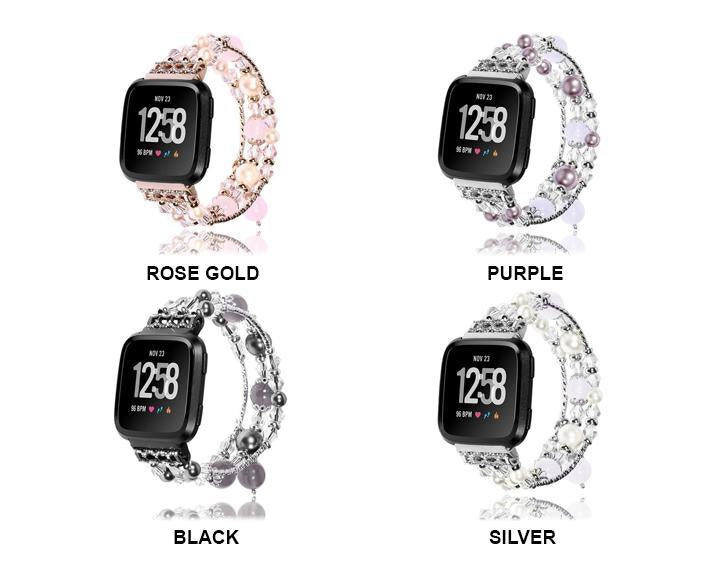 Smart Accessories Fashion Sports Beaded Bracelet Strap Band For Fitbit Versa SmartWatch Watachband Sporting wearable devices relogios horloge|Smart Accessories|