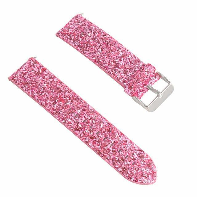 Smart Accessories Pink 46mm Bling Shiny Luxury Leather Replacement Watch Band Replacement Bracelet Watch Band Strap for Samsung Galaxy Watch 42/46 mm