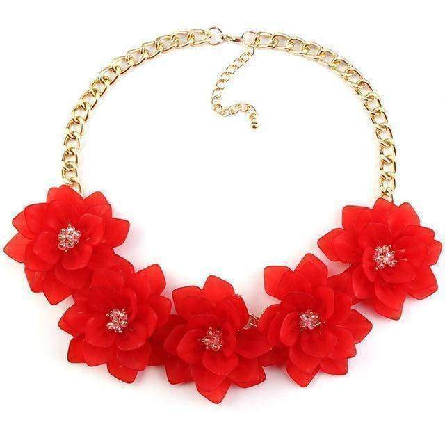 statement necklaces red Flower Statement Necklace