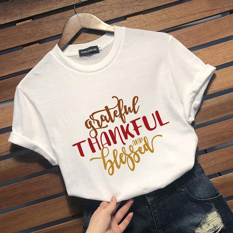 T-Shirts Thanksgiving Tee GRATEFUL THANKFUL BLESSED Tshirt Women Tees Female Short Sleeve Letter Printed Tops