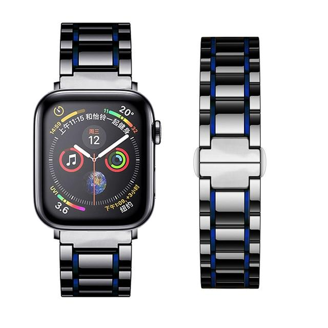 Watchbands black blue / 38mm or  40mm Ceramic Strap for Apple Watch 5 Band 44mm 40mmm Luxury Stainless steel bracelet iWatch band 42mm 38mm 40 42 44 mm series 3 4 5|Watchbands|