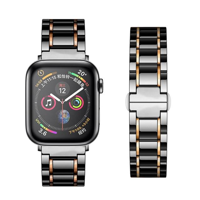 Watchbands black Rose / 38mm or  40mm Ceramic Strap for Apple Watch 5 Band 44mm 40mmm Luxury Stainless steel bracelet iWatch band 42mm 38mm 40 42 44 mm series 3 4 5|Watchbands|