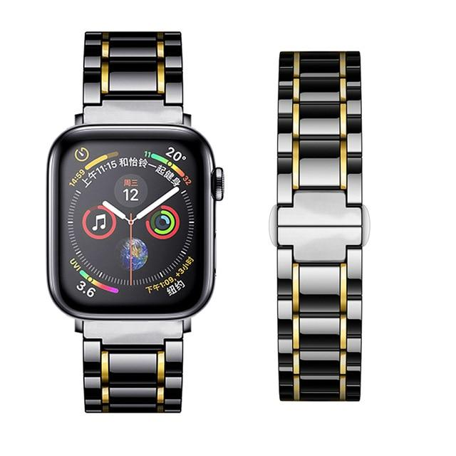 Watchbands black Gold / 38mm or  40mm Ceramic Strap for Apple Watch 5 Band 44mm 40mmm Luxury Stainless steel bracelet iWatch band 42mm 38mm 40 42 44 mm series 3 4 5|Watchbands|