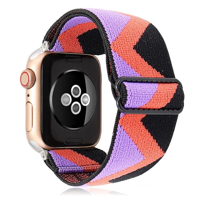 Watchbands Boho Purple Peach Elastic Band Adjustment Nylon Loop Strap for Apple Watch Strap 38 40 42 44mm Iwatch 5/4/3 2 Man Women Watch Band for Apple Strap