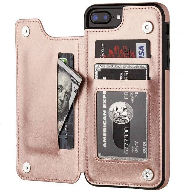 Fitted Cases for iPhone 6 6s / Rose Gold Business Wallet Cases For iPhone 12 Mini 11 Pro XS Max XR X Cover Retro Flip Leather Phone Case For iPhone 6S 6 7 8 Plus SE 2020|Fitted Cases|