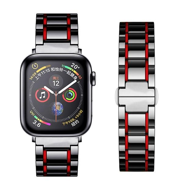 Watchbands Black Red / 38mm or  40mm Ceramic Strap for Apple Watch 5 Band 44mm 40mmm Luxury Stainless steel bracelet iWatch band 42mm 38mm 40 42 44 mm series 3 4 5|Watchbands|