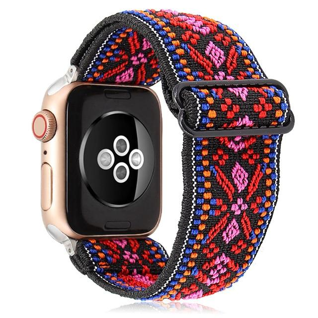 Watchbands Boho Red Peach Elastic Band Adjustment Nylon Loop Strap for Apple Watch Strap 38 40 42 44mm Iwatch 5/4/3 2 Man Women Watch Band for Apple Strap